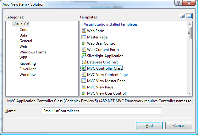 View a Generic List with ASP NET MVC  Step by Step With Preview 5