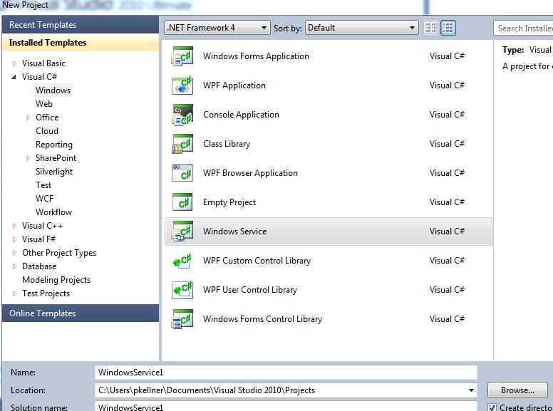 Building a Simple Window Service Application in Visual Studio 2010